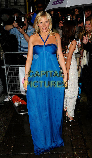JO WHILEY.Outside arrivals at The Glamour Women of the Year Awards 2008, Berkeley Square Gardens, London, England..June 3rd, 2008.full length dress long blue halterneck marks wet silver chain strap bag.CAP/CAN.©Can Nguyen/Capital Pictures.