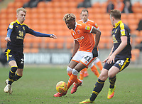 Blackpool's Armand Gnanduillet under pressure from Oxford United's Mark Sykes<br /> <br /> Photographer Kevin Barnes/CameraSport<br /> <br /> The EFL Sky Bet League One - Blackpool v Oxford United - Saturday 23rd February 2019 - Bloomfield Road - Blackpool<br /> <br /> World Copyright © 2019 CameraSport. All rights reserved. 43 Linden Ave. Countesthorpe. Leicester. England. LE8 5PG - Tel: +44 (0) 116 277 4147 - admin@camerasport.com - www.camerasport.com