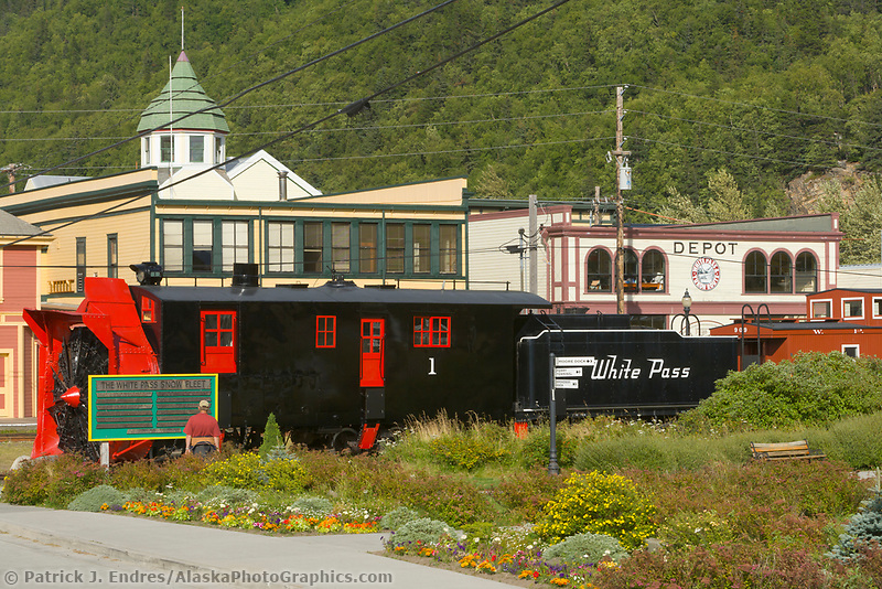 White pass train engine in the historic gold rush town of Skagway, Alaska, located at the end of the Lynn Canal on the Alaska Panhandle. Favorite tourist destination for cruise ships.