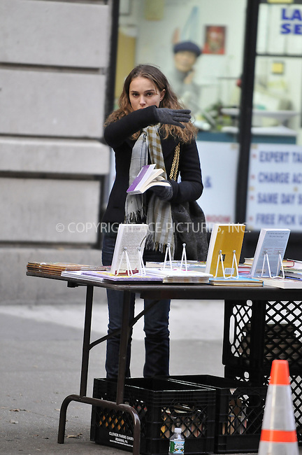 WWW.ACEPIXS.COM . . . . .  ....December 5 2008, New York City....Actress Natalie Portman shoots a scene  for the movie 'Love and other impossible pursuits' on December 5 2008 in New York City....Please byline: AJ Sokalner - ACEPIXS.COM..... *** ***..Ace Pictures, Inc:  ..tel: 212 243 8787..e-mail: info@acepixs.com..web: http://www.acepixs.com