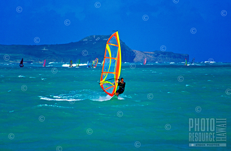Windsurfers flock to the waters off Kailua Beach on Oahu to take advantage of strong trade winds.