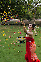 Traditional Thai Girl celebration with flowers, Phra Nakhon Si Ayutthaya, Thailand.