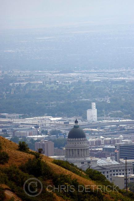 Salt Lake City, UT--7/22/07--3:51:52 PM--.Smoke from neighboring fires settles in over the Salt Lake valley..******************************..Chris Detrick/The Salt Lake Tribune.File #_2CD3337....`..