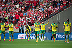Norwich City 2 Middlesbrough 0, 25/05/2015. Wembley Stadium, Championship Play Off Final. Players celebrate their second goal from Nathan Redmond scored in the 15th minute. A match worth £120m to the victors. On the day Norwich City secured an instant return to the Premier League with victory over Middlesbrough in front of 85,656. Photo by Simon Gill.