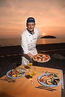 Diamante, Calabria, Italy, May 2007. Camperplace Lido Tropical is not just a camper park. One has to taste the fresh seafood and tasty pizza's in Gabriele's reastaurant. Many picturesque towns line the mountainous coastline of Calabria. Photo by Frits Meyst/Adventure4ever.com