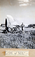 BNPS.co.uk (01202 558833)<br /> Pic: PhilYeomans/BNPS<br /> <br /> Remains of downed 'Jerry' aircraft.<br /> <br /> Unearthed - fascinating unseen archive of cameras, photographs, documents and medals from a British aerial reconnaisance expert who fought all the way through Africa and southern Europe in WW2.<br /> <br /> Flt Lt Eric Cooper from London kept all his wartime paraphernalia, including his K20 handheld camera and stereoscopic plotting instruments until his death in Devon aged 96 in 2012.<br /> <br /> The incredible photographs show bombing raids, amphibious landings and badly damaged aircraft alongside off duty snaps of the campaign throughout the mediterraenean.<br /> <br /> His nephew is now selling the compelling collection at Plymouth Auction Rooms in Devon next week.