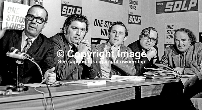 SDLP, Social Democratic &amp; Labour Party Press Conference to announce their party manifesto for the 10th October 1974 UK General Election. Left to right: Gerry Fitt, leader, John Hume, deputy leader, Sean Hollywood, candidate, South Down, Ben Carraher, candidate, South Belfast, and Paddy Rowan. 197410000529b<br />