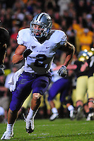 18 October 08: Kansas State safety Tysyn Hartman (2) on a play against Colorado. The Colorado Buffaloes defeated the Kansas State Wildcats 14-13 at Folsom Field in Boulder, Colorado.