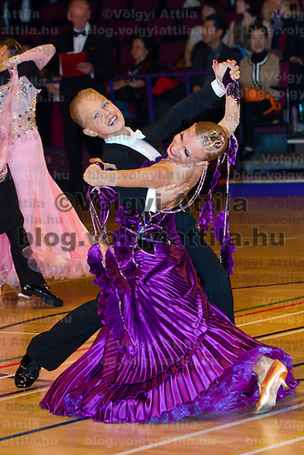 Werner Robert Laaneots and Laura-liisa Lohmus from Estonia perform their dance in the Junior Ballroom competitioin of the International Championships held in Brentwood Leasure Centre, Brentwood, United Kingdom. Wednesday, 12. October 2011. ATTILA VOLGYI