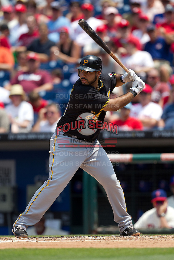 Pittsburgh Pirates  third baseman Pedro Alvarez #24 at bat during the Major League Baseball game against the Philadelphia Phillies on June 28, 2012 at Citizens Bank Park in Philadelphia, Pennsylvania. The Pirates defeated the Phillies 5-4. (Andrew Woolley/Four Seam Images).