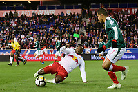 Harrison, NJ - Tuesday April 10, 2018: Derrick Etienne Jr. during leg two of a  CONCACAF Champions League semi-final match between the New York Red Bulls and C. D. Guadalajara at Red Bull Arena. C. D. Guadalajara defeated the New York Red Bulls 0-0 (1-0 on aggregate).