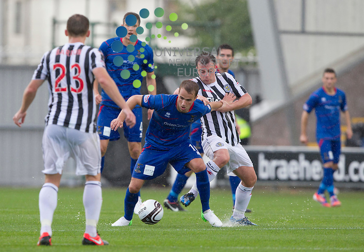 Paul McGowan takes Andrew Shinnie during the St Mirren v inverness  at St mirren Park.Picture: Maurice McDonald/Universal News And Sport (Europe). 4 August  2012. www.unpixs.com.
