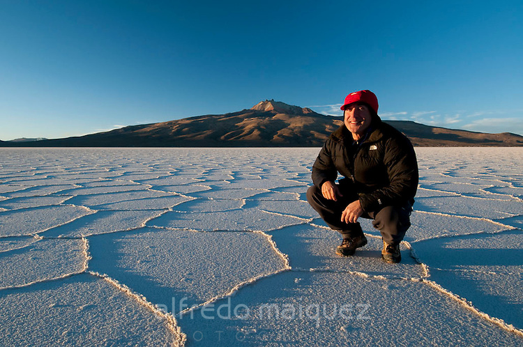 Alfredo Maiquez at Uyuni salt desert, Bolivia,Altiplano