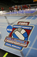 14 December 2006: The NCAA Division I Women's Volleyball Championship logo during Stanford's 2006 NCAA Division I Women's Volleyball Final Four closed practice at the Qwest Center in Omaha, NE.