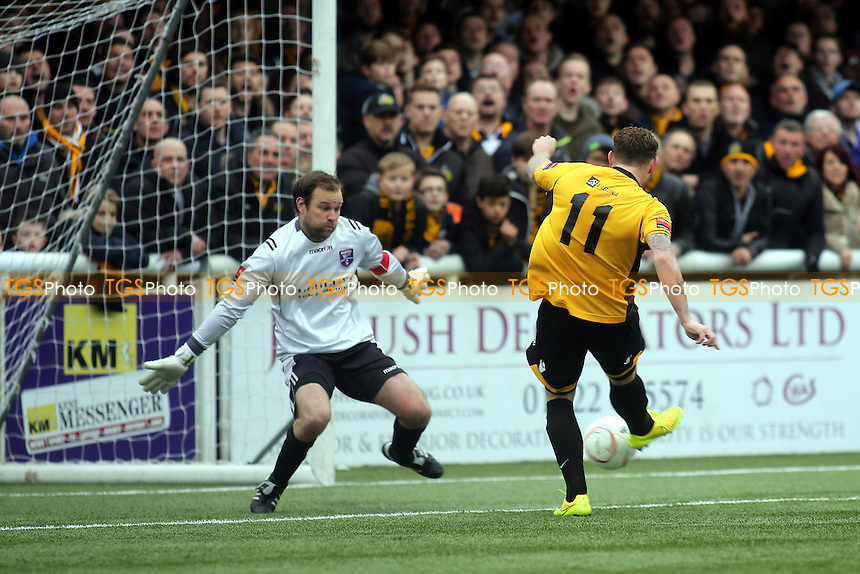 Billy Bricknell scores Maidstone's second goal - Maidstone United vs Margate - Ryman League Premier Division Football at The Gallagher Stadium, Maidstone, Kent - 28/03/15 - MANDATORY CREDIT: Paul Dennis/TGSPHOTO - Self billing applies where appropriate - contact@tgsphoto.co.uk - NO UNPAID USE