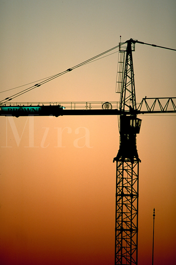 construction crane at sunset