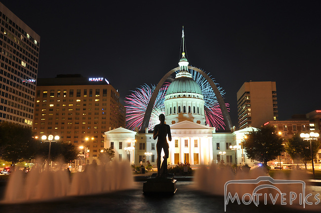 Fair St. Louis July 2nd, 2011 Fireworks from Kiener Plaza Downtown St. Louis with the Old Courthouse and the Arch.  Buy prints at www.MotivePics.com