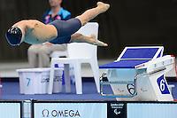 PICTURE BY ALEX BROADWAY /SWPIX.COM - 2012 London Paralympic Games - Day Three - Swimming - Aquatic Centre, Olympic Park, London, England - 01/09/12 - Iaroslav Semenenko of Ukraine competes in the Men's 100m Breaststroke SB7 Heats.