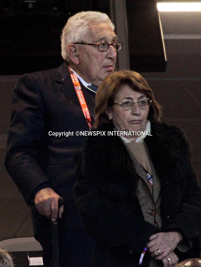 """HENRY KISSINGER.56th Secretary of State of the United States at the FIFA World Cup 2010 Final, Soccer City Johannesburg South Africa_11/07/2010  .Mandatory Credit Photos: ©Newspix International..**ALL FEES PAYABLE TO: """"NEWSPIX INTERNATIONAL""""**..PHOTO CREDIT MANDATORY!!: NEWSPIX INTERNATIONAL(Failure to credit will incur a surcharge of 100% of reproduction fees)..IMMEDIATE CONFIRMATION OF USAGE REQUIRED:.Newspix International, 31 Chinnery Hill, Bishop's Stortford, ENGLAND CM23 3PS.Tel:+441279 324672  ; Fax: +441279656877.Mobile:  0777568 1153.e-mail: info@newspixinternational.co.uk"""