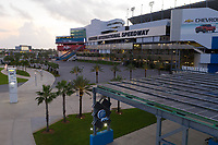 Early morning photo of Daytona Speedway before 2019 Hurricane Dorian in Daytona, Fla. on August 31, 2019.