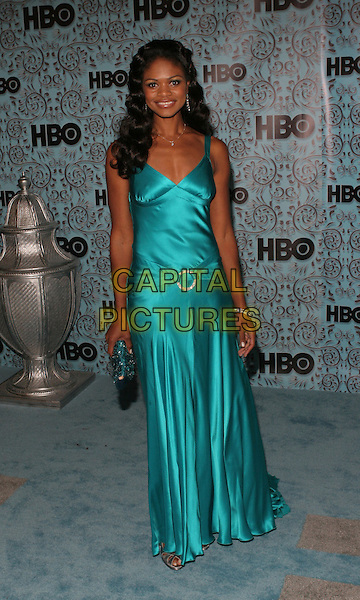 KIMBERLY ELISE.Arrivals at HBO's Post Emmy Party following the 57th Annual Primetime Emmy Awards held at the Pacific Design Center,.Los Angeles, 18th September 2005.full length turquoise blue satin dress clutch bag purse.Ref: ADM/ZL.www.capitalpictures.com.sales@capitalpictures.com.© Capital Pictures.