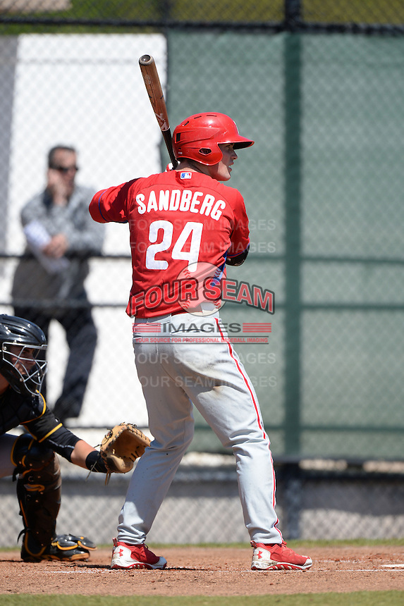 Philadelphia Phillies outfielder Cord Sandberg (24) during a minor league spring training game against the Pittsburgh Pirates on March 18, 2014 at the Carpenter Complex in Clearwater, Florida.  (Mike Janes/Four Seam Images)