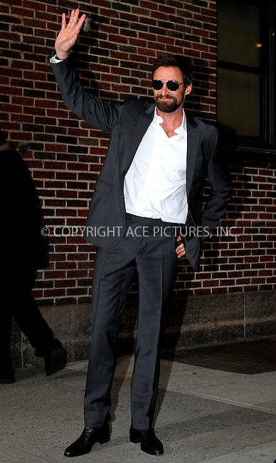 WWW.ACEPIXS.COM....February 20 2013, New York City....Actor Hugh Jackman made an appearance at the Late Show with David Letterman on February 20 2013 in New York City......By Line: Nancy Rivera/ACE Pictures......ACE Pictures, Inc...tel: 646 769 0430..Email: info@acepixs.com..www.acepixs.com
