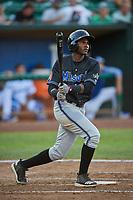 Jesus Munoz (23) of the Missoula Osprey bats against the Ogden Raptors at Lindquist Field on July 12, 2018 in Ogden, Utah. Missoula defeated Ogden 11-4. (Stephen Smith/Four Seam Images)