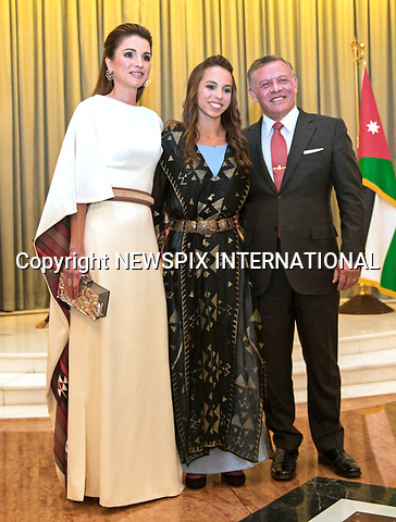 25.05.2017; Amman, Jordan: QUEEN RANIA, KING ABDULLAH II AND PRINCESS SALMA<br /> attend the national celebrations on the occasion of the 71st anniversary of Jordan's Independence Day at Raghadan Palace, Amman<br /> Mandatory Photo Credit: &copy;Royal Hashemite Court/NEWSPIX INTERNATIONAL<br /> <br /> IMMEDIATE CONFIRMATION OF USAGE REQUIRED:<br /> Newspix International, 31 Chinnery Hill, Bishop's Stortford, ENGLAND CM23 3PS<br /> Tel:+441279 324672  ; Fax: +441279656877<br /> Mobile:  0777568 1153<br /> e-mail: info@newspixinternational.co.uk<br /> &ldquo;All Fees Payable To Newspix International&rdquo;