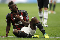 Calcio, Serie A: Milan vs Juventus. Milano, stadio San Siro, 9 aprile 2016. <br /> Milan's Mario Balotelli reacts during the Italian Serie A football match between AC Milan and Juventus at Milan's San Siro stadium, 9 April 2016.<br /> UPDATE IMAGES PRESS/Isabella Bonotto