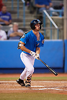 Hudson Valley Renegades center fielder Tanner Dodson (10) follows through on a swing during a game against the Tri-City ValleyCats on August 24, 2018 at Dutchess Stadium in Wappingers Falls, New York.  Hudson Valley defeated Tri-City 4-0.  (Mike Janes/Four Seam Images)