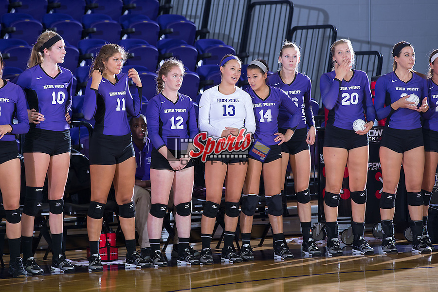 The High Point Panthers line up for the National Anthem prior to their match against the UNC Greensboro Spartans at Millis Athletic Center on September 16, 2014 in High Point, North Carolina.  The Panthers defeated the Spartans 3-0.   (Brian Westerholt/Sports On Film)