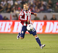 CARSON, CA - April 21, 2012: Chivas USA forward Alejandro Moreno (15) during the Chivas USA vs Philadelphia Union match at the Home Depot Center in Carson, California. Final score Philadelphia Union 1, Chivas USA 0.