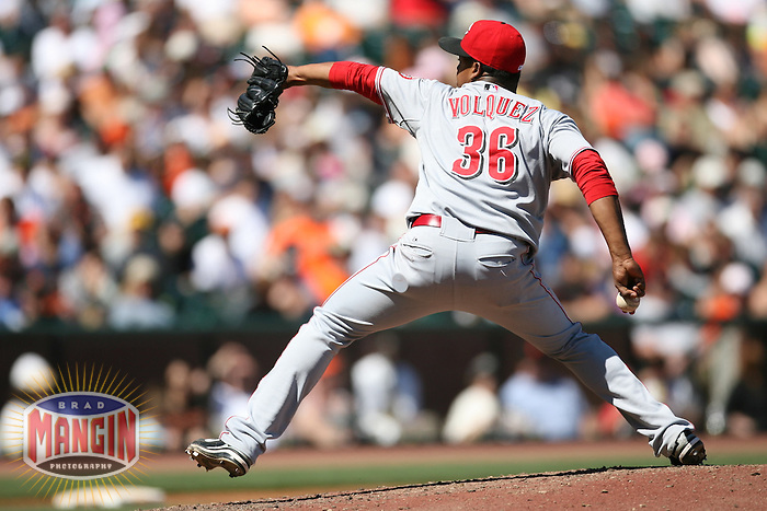 SAN FRANCISCO - APRIL 27:  Edinson Volquez of the Cincinnati Reds pitches during the game against the San Francisco Giants at AT&T Park in San Francisco, California on April 27, 2008.  The Reds defeated the Giants 10-1.  Photo by Brad Mangin