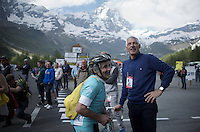 legit cycling legend Francesco Moser mixes with the crowd up the final Cervinia climb (2001m)<br /> <br /> Giro d'Italia 2015<br /> stage 19: Gravellona Toce - Cervinia (236km)