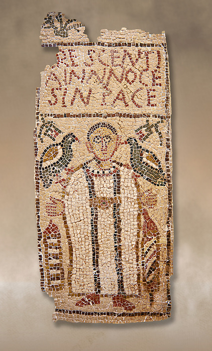 The Christian Eastern Roman Byzantine memorial funerary mosaic for Crescentia. <br /> Above the funerary portrait of Crescentia are the words: &lsquo;Crescentia, innocent and in Peace&rsquo;. Crescentia is dressed in a dalmatic, a long wide-sleeved tunic, with a belt around the waiste and a neclace around her neck. Lit candles represent eternal life. 5th century AD from the western necropolis of Thabraca, Tabarka, Tunisia, Bardo Museum, Tunis, Tunisia