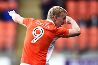 Blackpool's Mark Cullen celebrates scoring his sides first goal <br /> <br /> Photographer Richard Martin-Roberts/CameraSport<br /> <br /> The EFL Sky Bet League Two Play-Off Semi Final First Leg - Blackpool v Luton Town - Sunday May 14th 2017 - Bloomfield Road - Blackpool<br /> <br /> World Copyright &copy; 2017 CameraSport. All rights reserved. 43 Linden Ave. Countesthorpe. Leicester. England. LE8 5PG - Tel: +44 (0) 116 277 4147 - admin@camerasport.com - www.camerasport.com