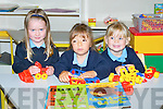 PLAYING: Keira Nolan, Libbi Dowling and Laurenn Knightly, who played with their toys on their bfirst day at Killahan NS on Thursday...........
