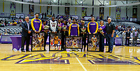 University at Albany men's basketball defeats Binghamton University 71-54  at the  SEFCU Arena, Feb. 27, 2018.  Senior Night.  (L-R, Alex Foster, Travis Charles, Costa Anderson, Greg Stire. (Bruce Dudek / Cal Sport Media/Eclipse Sportswire)
