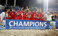 RAVENNA, ITALIA, 11 DE SETEMBRO DE 2011 - COPA DO MUNDO BEACH SOCCER - Jogadores da Russia comemoram a conquista da Copa do Mundo de Beach Soccer, no Stadium Del Mare em Ravenna na Italia, neste domingo (11). (FOTO: WILLIAM VOLCOV - NEWS FREE).