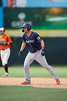 Binghamton Rumble Ponies Patrick Mazeika (19) leads off second base during an Eastern League game against the Bowie Baysox on August 21, 2019 at Prince George's Stadium in Bowie, Maryland.  Bowie defeated Binghamton 7-6 in ten innings.  (Mike Janes/Four Seam Images)