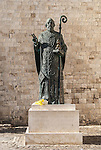 A statue of San Nicola Taumaturgo in the old town of Bari in Puglia, Italy