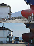 September 9, 2011, Kamaishi, Japan -  A lone man walks by the looming bow of Asia Symphony, a Panamanian ocean going vessel being left aground on the wharf in the port of Kamaishi , Iwate Prefecture, on April 1, 2011, top. The ship, washed ashore by tsunami on March 11, is till there six months after the earthquake hit this port city some 450km northeast of Tokyo, on Friday, September 9..Japan marks six months anniversary on September 11 of an earthquake and tsunami that have ravaged 130 .kilometers along the Pacific coast in the country's northeastern region, leaving nearly 20,000 dead or missing. Six months after the nation's worst ever disaster. which also sparked a nuclear crisis, still more than 20,000 people are forced to dwell in temporary shelters and housings throughout the area. (Photo by Natsuki Sakai/AFLO)