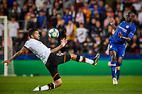 27th November 2019; Mestalla, Valencia, Spain; UEFA Champions League Footballl,Valencia versus Chelsea; Ngolo Kante of Chelsea centers challenged by Ezequiel Garay of Valencia CF - Editorial Use