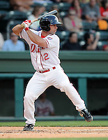 Catcher Dan Butler (12) of the Greenville Drive, Class A affiliate of the Boston Red Sox, in a game against the Rome Braves April 13, 2010, at Fluor Field at the West End in Greenville, S.C. Butler was named the South Atlantic League's Player of the Week for April 19-25, 2010. Butler's batting average ranked second in the 14-team league, while his slugging percentage (.950) and OPS (1.426) were both tops in the league. Photo by: Tom Priddy/Four Seam Images