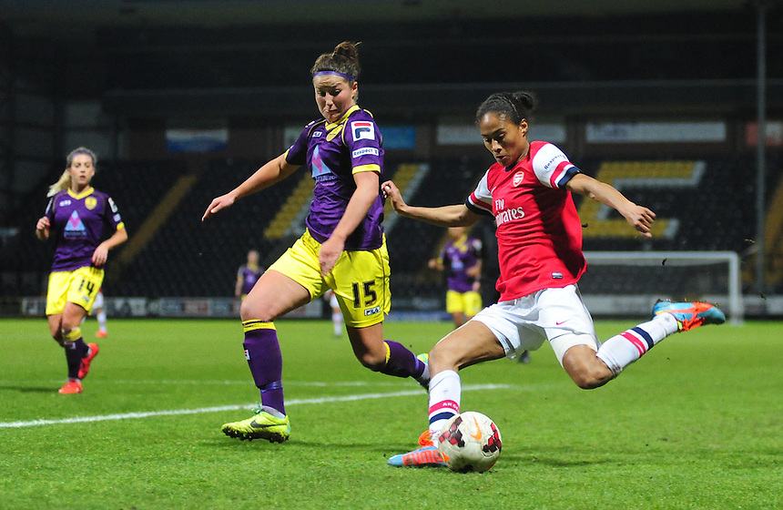 Arsenal Ladies' Rachel Yankey vies for possession with Notts County Ladies' Amy Turner&nbsp;<br /> <br /> Photo by Chris Vaughan/CameraSport<br /> <br /> Women's Football - FA Women&rsquo;s Super League 1 - Notts County Ladies v Arsenal Ladies - Wednesday 16th April 2014 - Meadow Lane - Nottingham<br /> <br /> &copy; CameraSport - 43 Linden Ave. Countesthorpe. Leicester. England. LE8 5PG - Tel: +44 (0) 116 277 4147 - admin@camerasport.com - www.camerasport.com