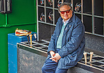 1 April 2013: Miami Marlins Owner and CEO Jeffrey Loria sits in the dugout prior to the Opening Day Game between the Miami Marlins and the Washington Nationals at Nationals Park in Washington, DC. The Nationals shut out the Marlins 2-0 to launch the 2013 season. Mandatory Credit: Ed Wolfstein Photo *** RAW (NEF) Image File Available ***