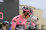 Race leader Maglia Rosa wearer Lukas Postlberger (AUT) Bora-Hansgrohe at sign on before Stage 2 of the 100th edition of the Giro d'Italia 2017, running 221km from Olbia to Tortoli, Sardinia, Italy. 6th May 2017.<br /> Picture: Ann Clarke | Cyclefile<br /> <br /> <br /> All photos usage must carry mandatory copyright credit (&copy; Cyclefile | Ann Clarke)