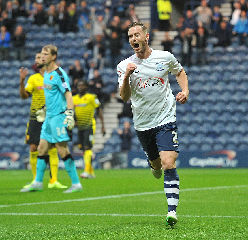 Preston North End's Marnick Vermijl celebrates scoring his team's first goal, his first for the club<br /> <br /> Photographer Dave Howarth/CameraSport<br /> <br /> Football - Capital One Cup Second Round - Preston North End v Watford - Tuesday 25 August 2015 - Deepdale - Preston<br />  <br /> &copy; CameraSport - 43 Linden Ave. Countesthorpe. Leicester. England. LE8 5PG - Tel: +44 (0) 116 277 4147 - admin@camerasport.com - www.camerasport.com