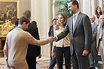 """Princes Felipe and Letizia of Spain attend in audience a representation of """"Prado de Santo Domingo"""" High Scholl of Alcorcon.May 22 ,2012. (ALTERPHOTOS/Acero)"""
